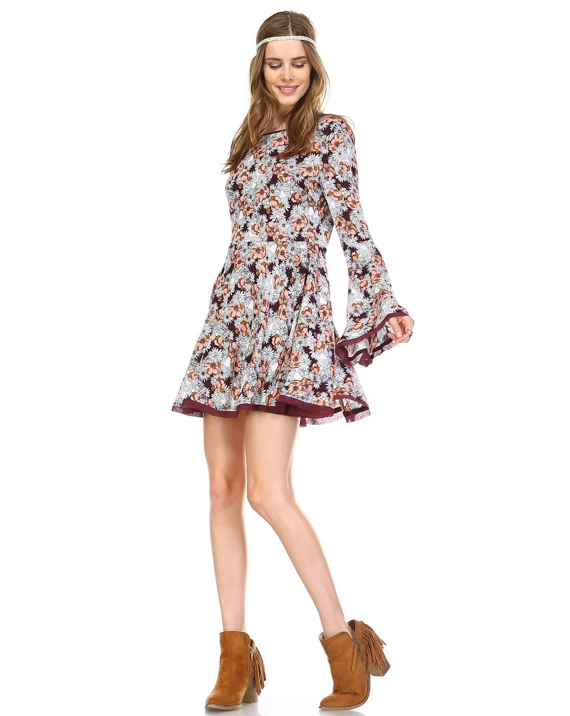 FLOWER PRINT FIT/FLARE DRESS - orangeshine.com