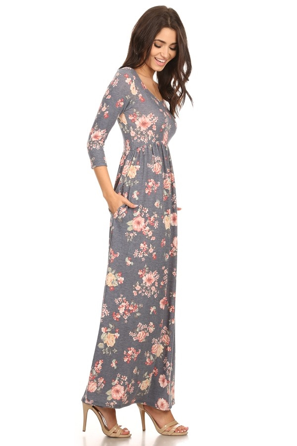 floral frenchterry maxi dress - orangeshine.com