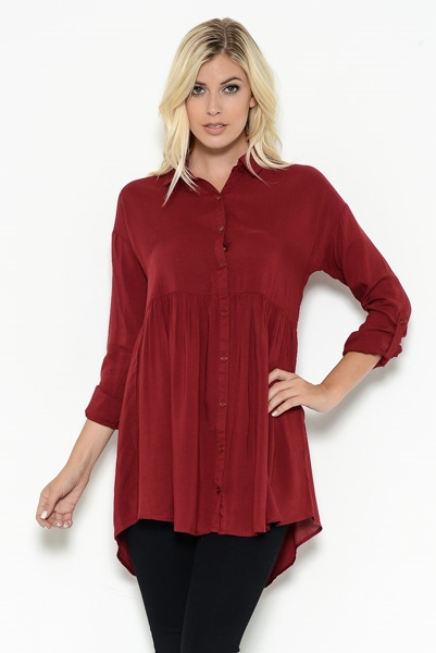Empire Waist Button Shirt Dres - orangeshine.com