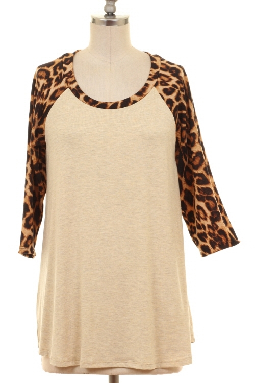 LEOPARD SLEEVE ROUND NECK TOP - orangeshine.com