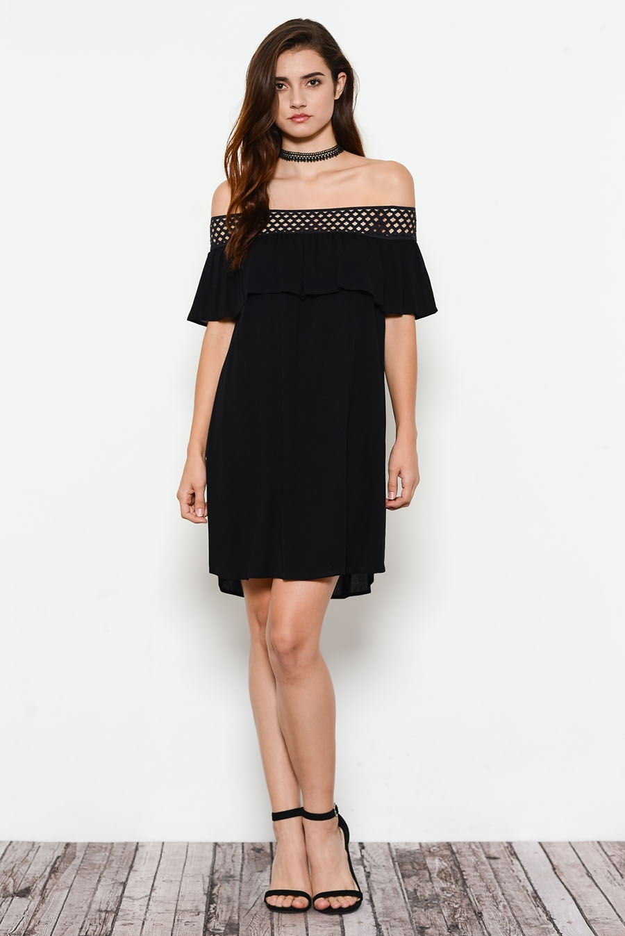 LACE ON SHOULDER RUFFLE DRESS - orangeshine.com