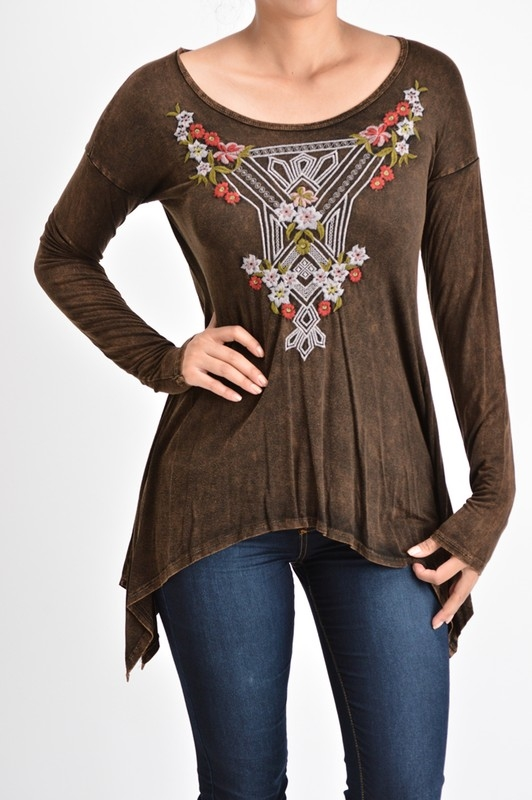 LONG SLEEVE EMBROIDERY TOP - orangeshine.com