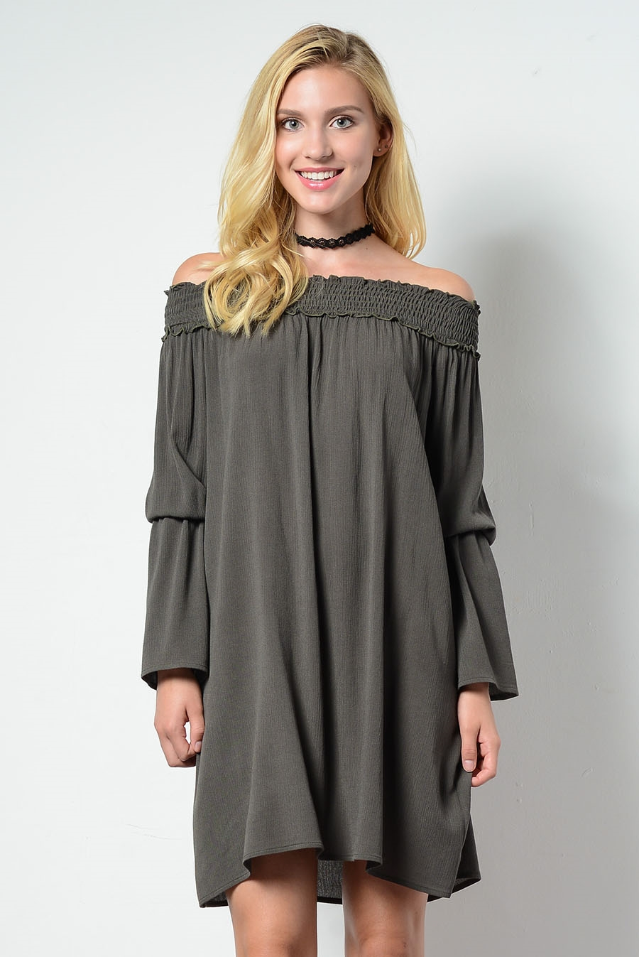 OFF SHOULDER LONGSLV DRESS - orangeshine.com
