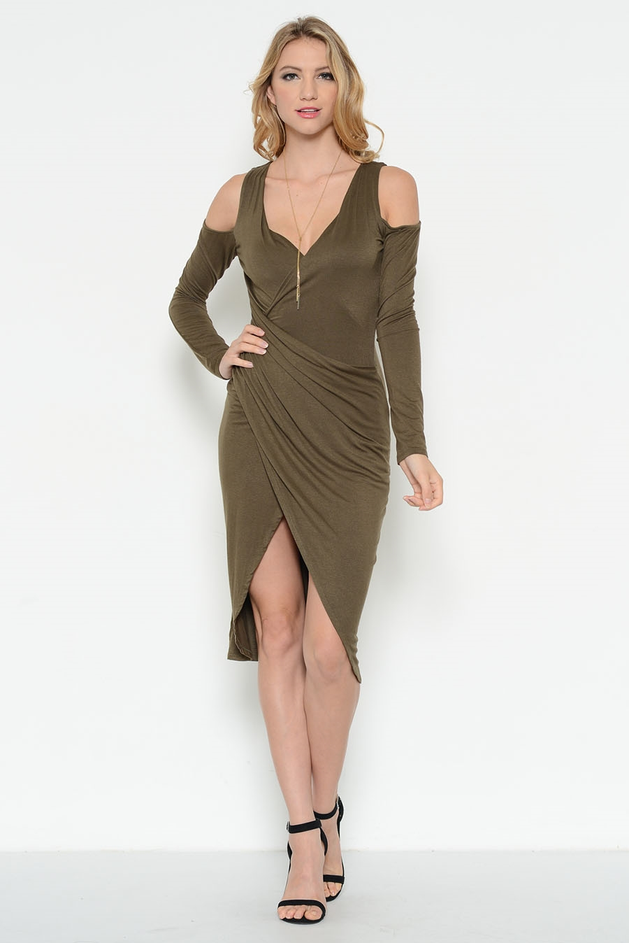COLD SHOULDER OVERLAP DRESS - orangeshine.com