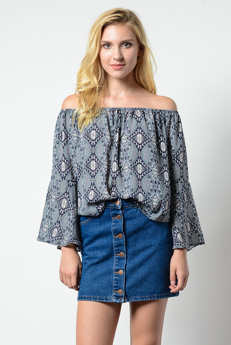 OFF SHOULDER WOOL DOBBY TOP - orangeshine.com