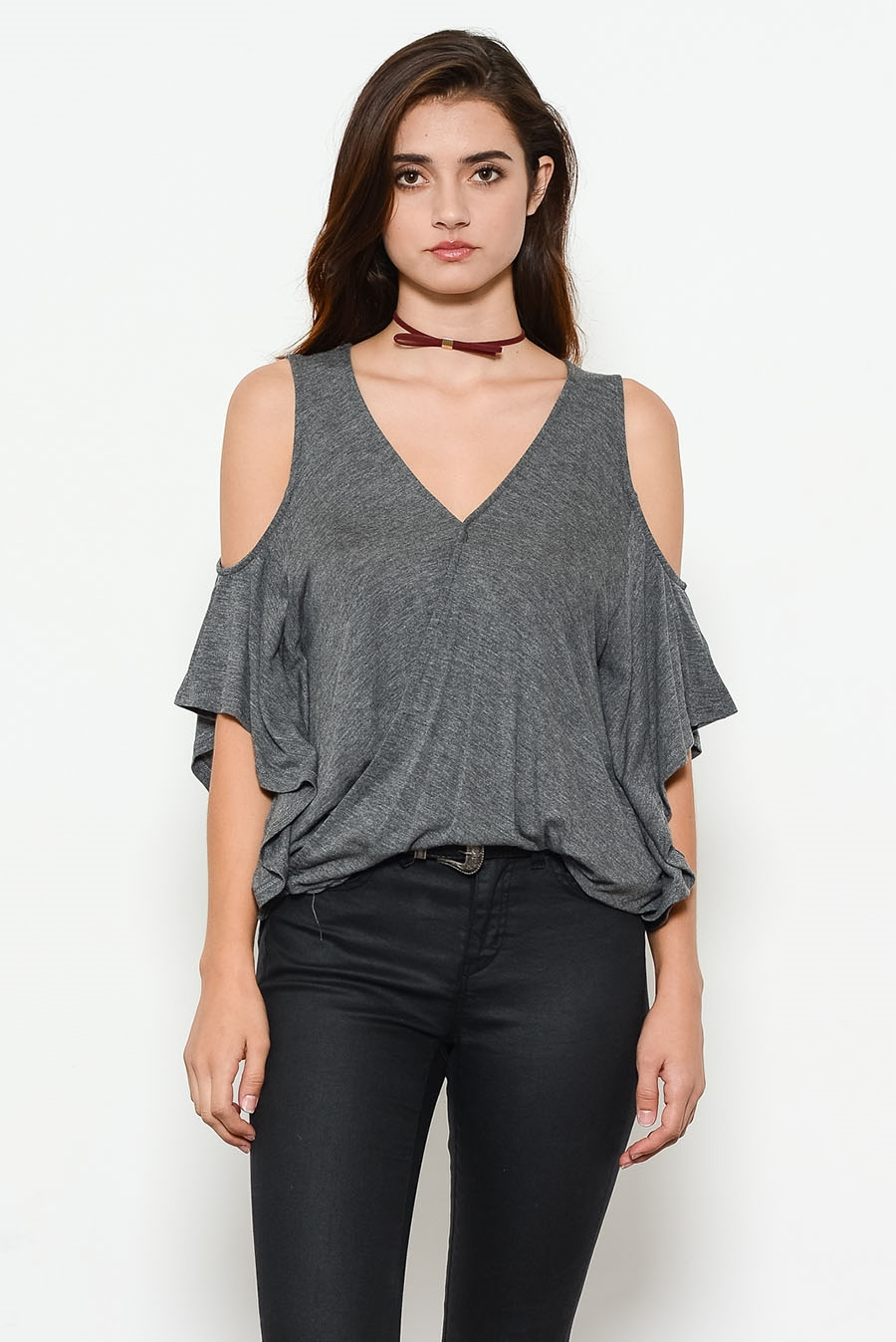 BABY RIB HOLE SHOULDER TOP - orangeshine.com