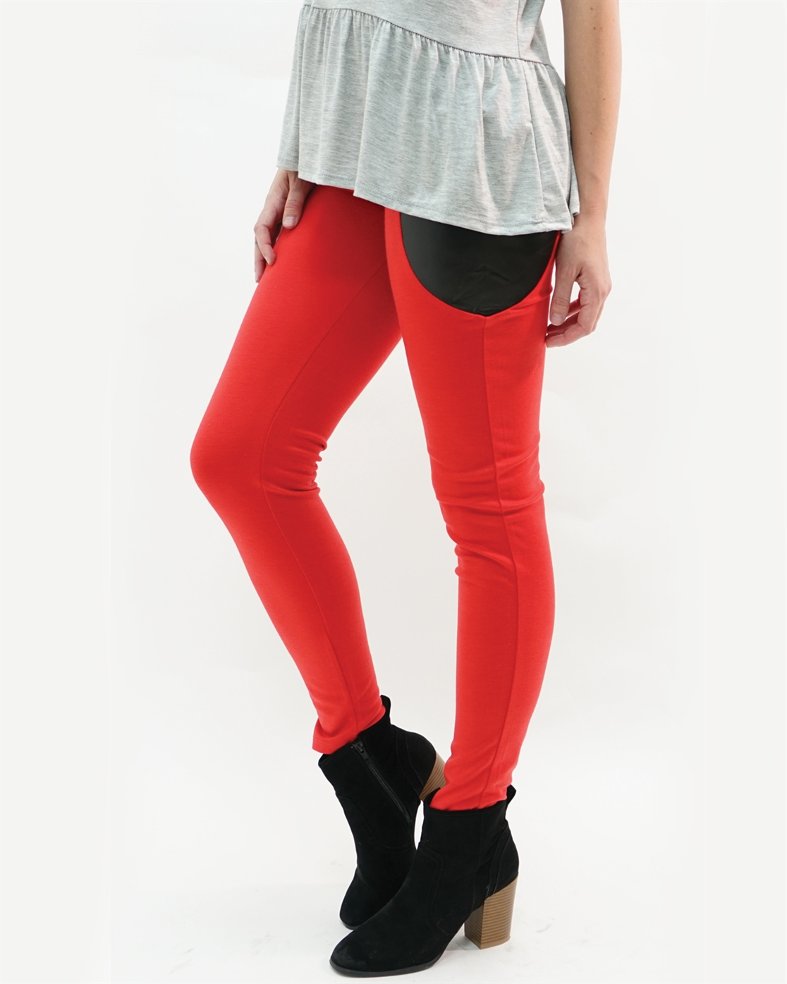 FAUX LEATHER ACCENT LEGGINGS - orangeshine.com