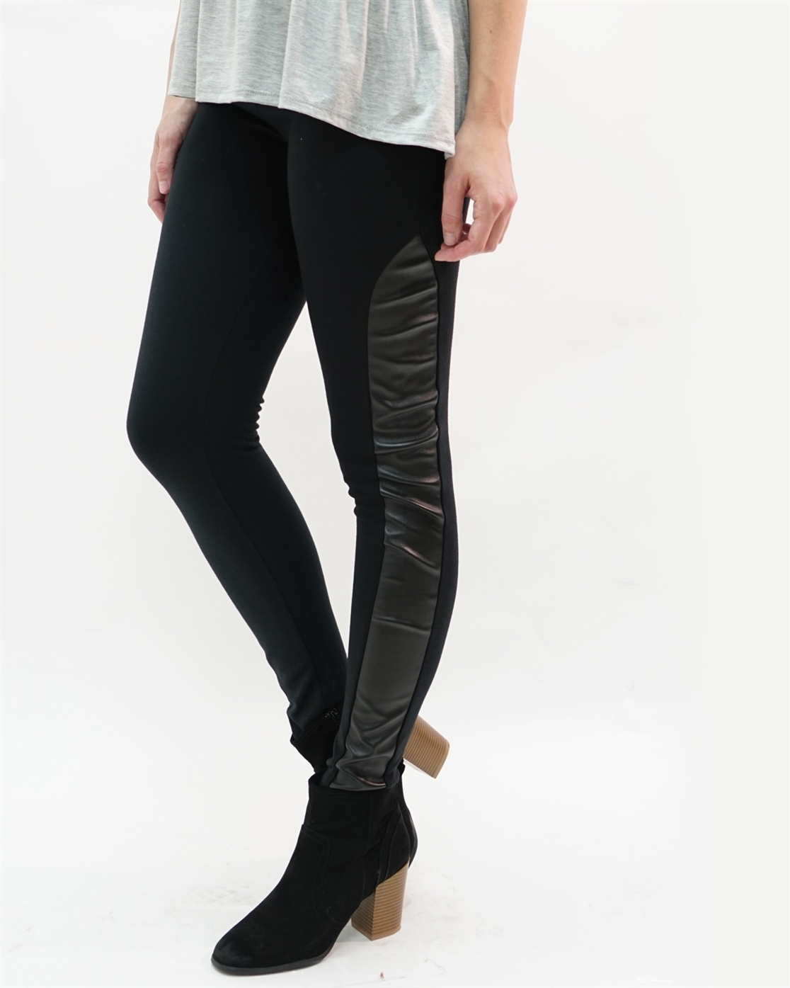 FAUX LEATHER PANEL LEGGINGS - orangeshine.com
