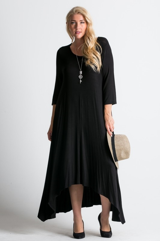 3/4 sleeve flowy maxi dress wi - orangeshine.com
