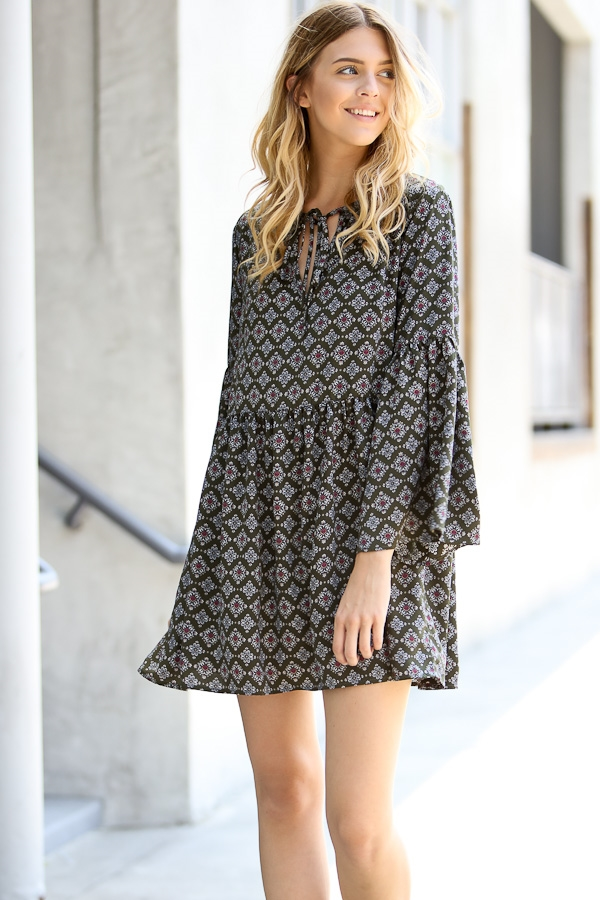 Long sleeve front tie dress - orangeshine.com