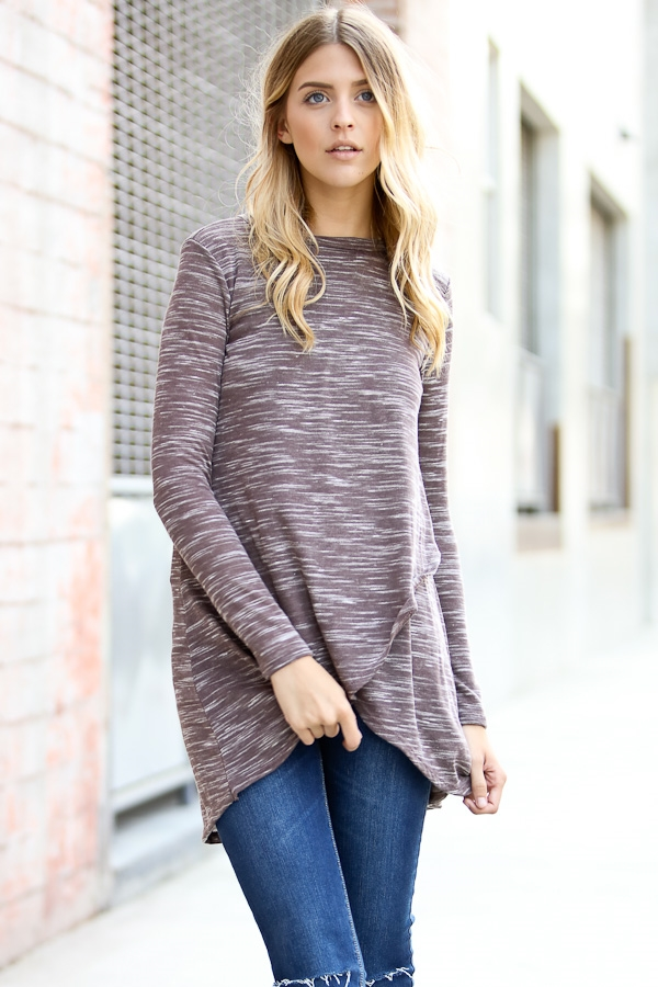 Long sleeve layered casual top - orangeshine.com