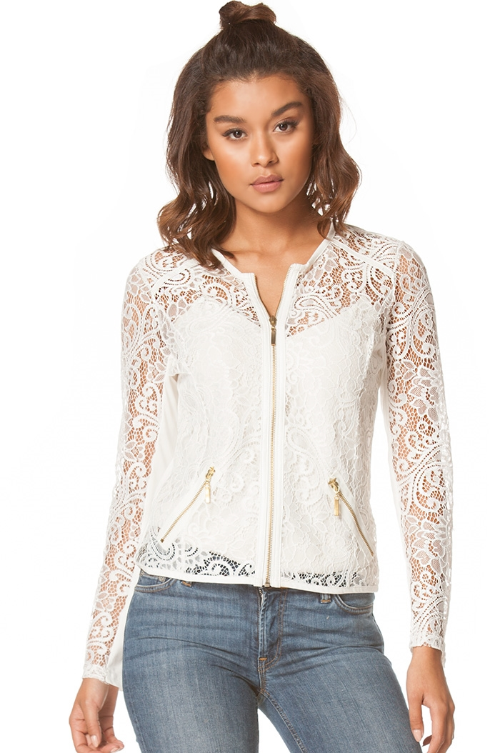 Jacket with lace design - orangeshine.com