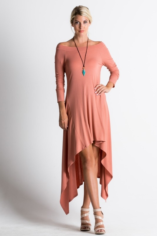 Off Shoulder Ribbed Dress - orangeshine.com