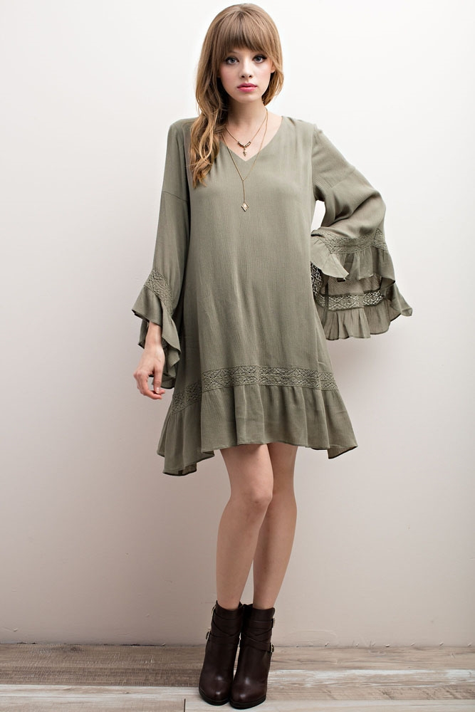 LACE TRIM BELL SLEEVED DRESS - orangeshine.com