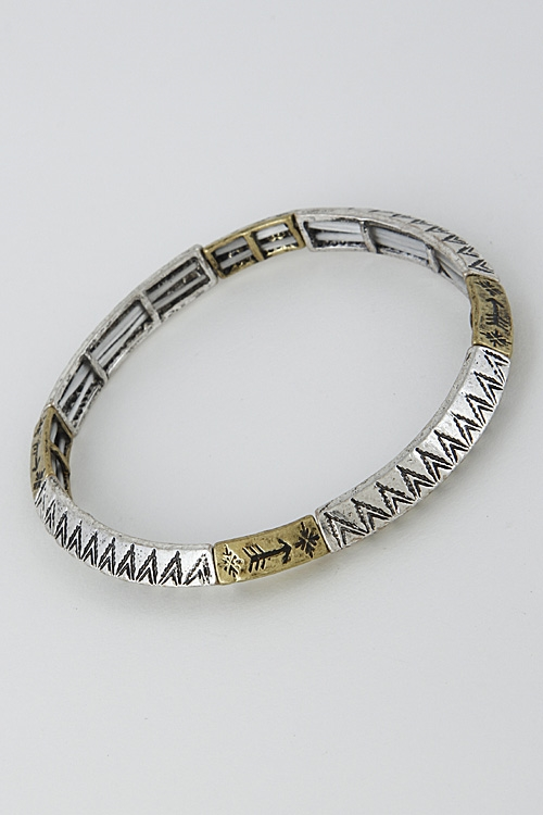 Thin Aztec Patterned Bracelet - orangeshine.com