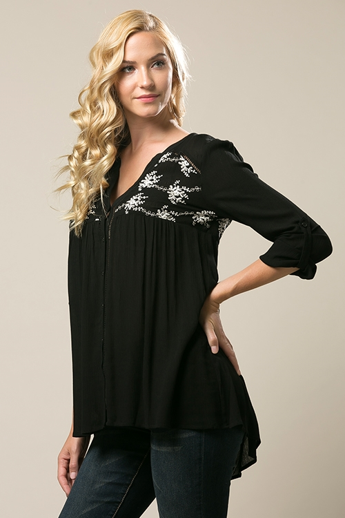 Embroidered Button Up Blouse - orangeshine.com