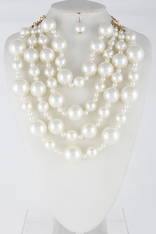 Faux Pearl Statement Necklace - orangeshine.com