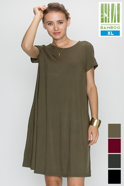 BAMBOO SOLID SHORT SLV DRESS - orangeshine.com