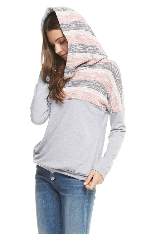 Cotton contrast hoodie top - orangeshine.com