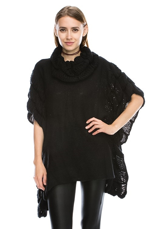 SOLID PONCHO SWEATER - orangeshine.com