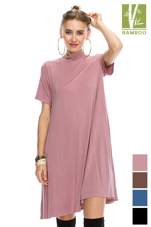 BAMBOO MOCK NECK DRESS - orangeshine.com