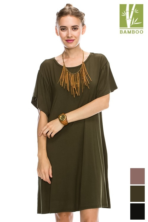 SOLID BAMBOO SWING DRESS - orangeshine.com