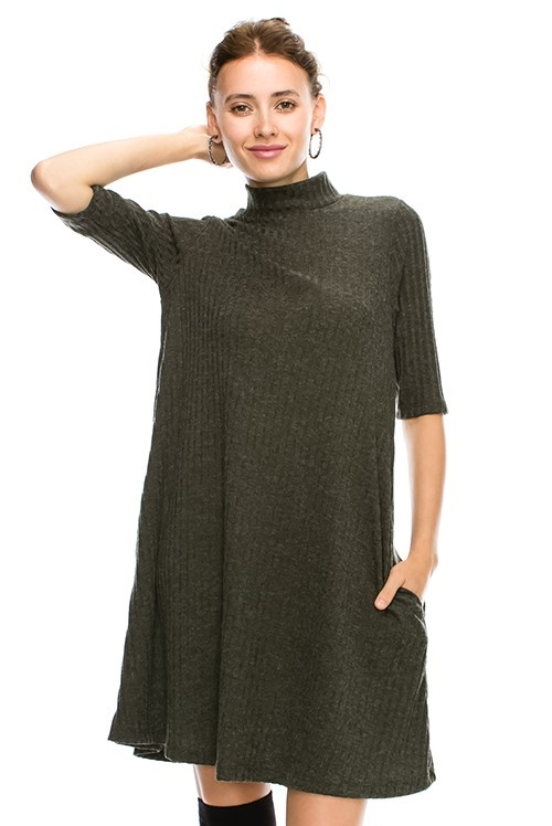 SOLID RIB MOCK NECK DRESS - orangeshine.com