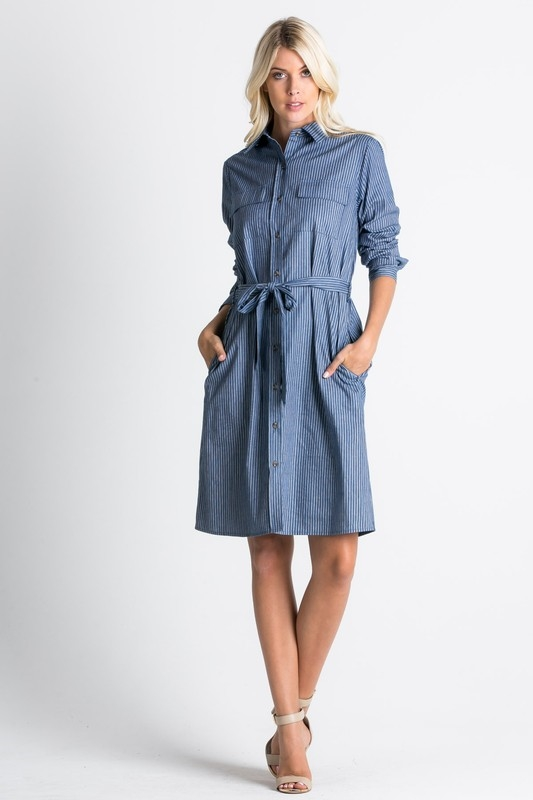button down belted shirt dress - orangeshine.com