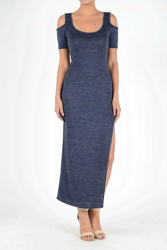 SWEAT TOP MAXI DRESS SIDE SLIT - orangeshine.com