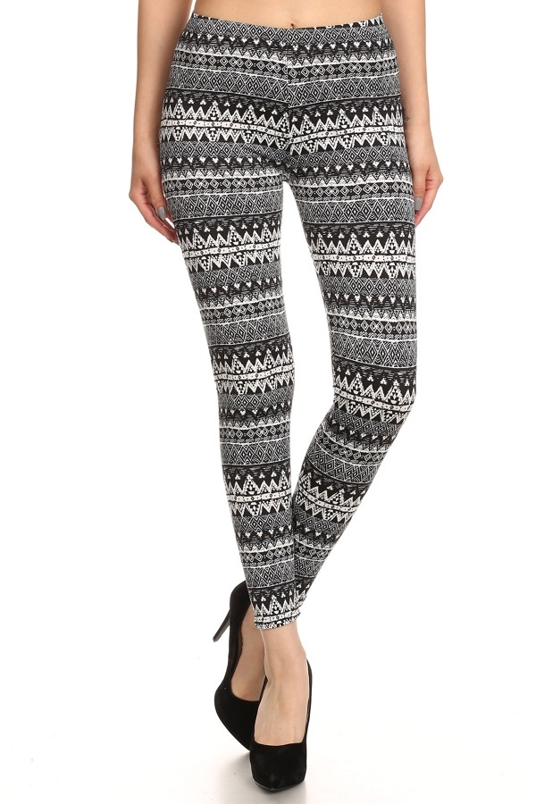 Azteco Tribal Fleece Leggings - orangeshine.com