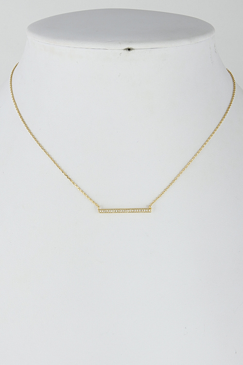 Formal Rhinestone Bar Necklace - orangeshine.com