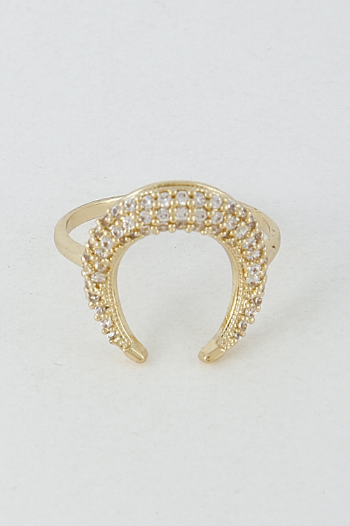 Rhinestone Crescent Ring - orangeshine.com