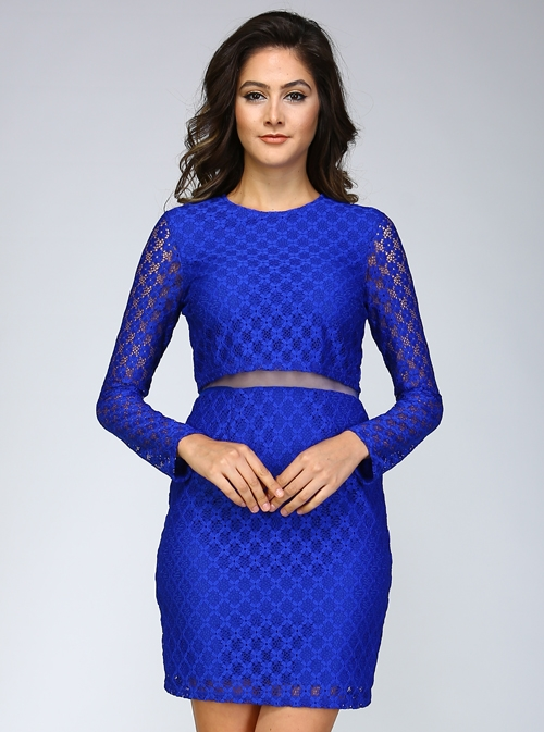 LACE LONG SLEEVE DRESS - orangeshine.com
