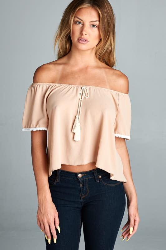 CROP PEASANT TOP - orangeshine.com