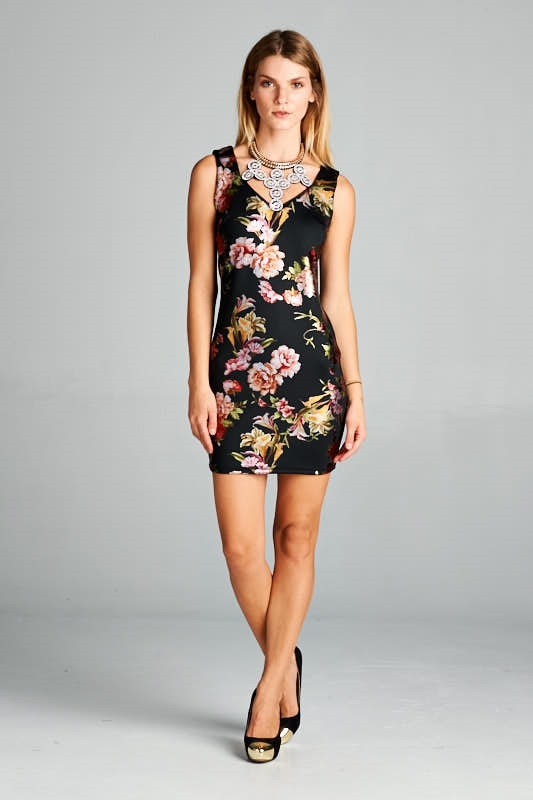 FLORAL BODYCON STATEMENT NECK - orangeshine.com
