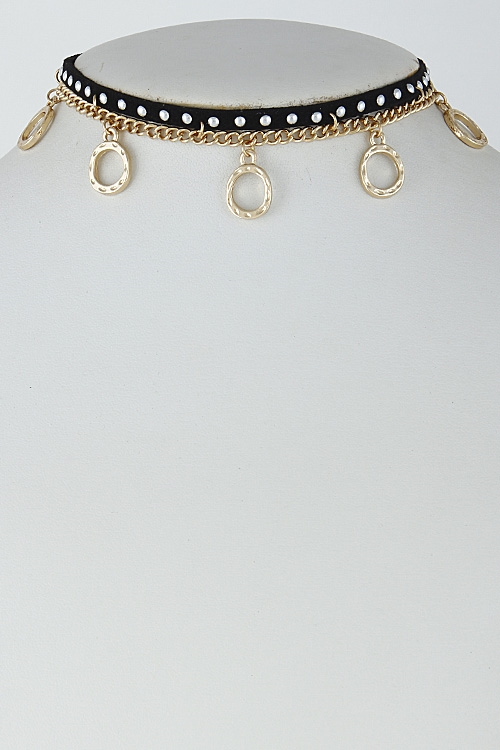 Studded Chain Choker Necklace - orangeshine.com