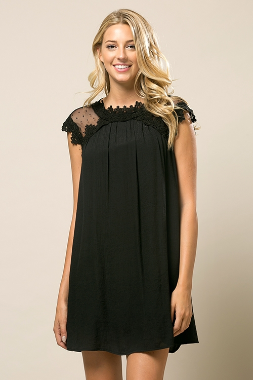 Lace Inset A line Dress - orangeshine.com