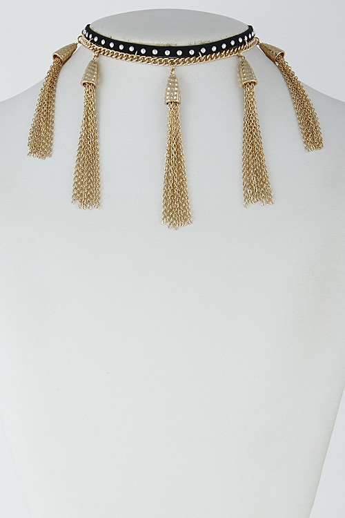 Studded Choker with Chains - orangeshine.com
