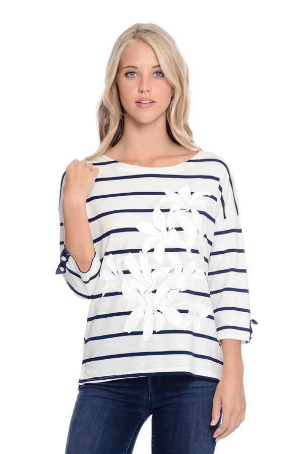 STRIPED TOP WITH FRONT PRINT - orangeshine.com