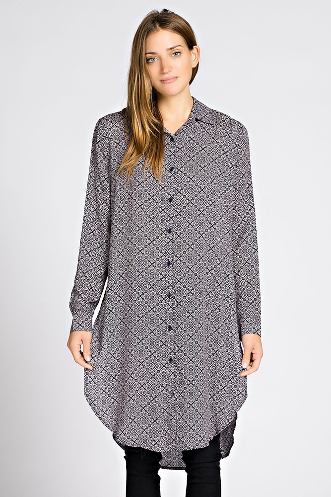 CASUAL LONG PRINTED  SHIRT - orangeshine.com