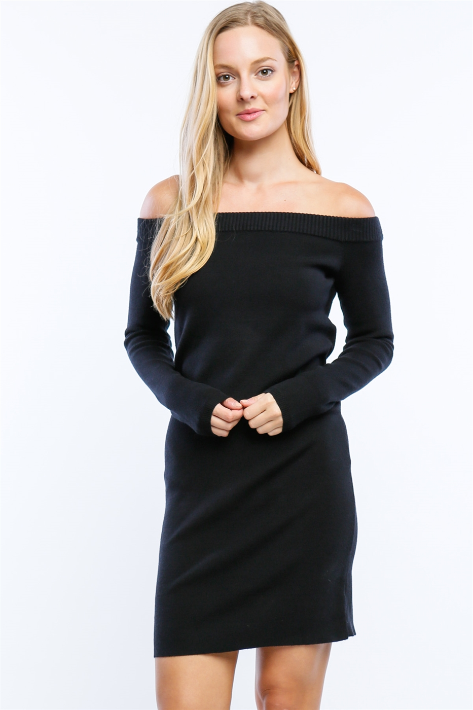 OFF THE SHOULDER SWEATER DRESS - orangeshine.com