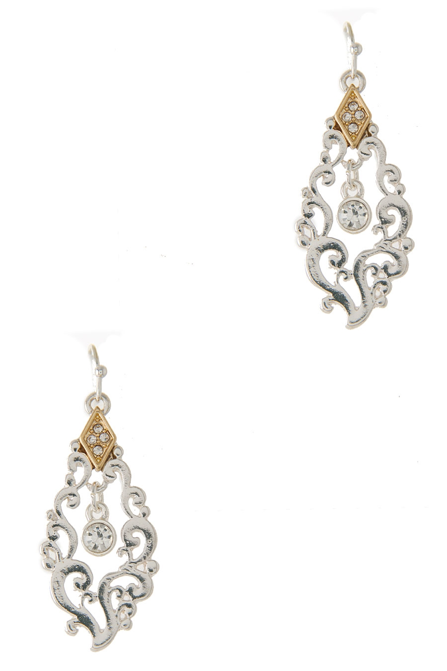 CUT OUT CRYSTAL DANGLE EARRING - orangeshine.com