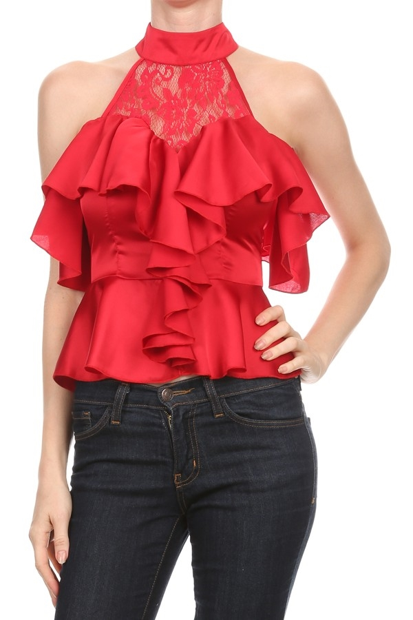 Ruffled top with off  shoulder - orangeshine.com