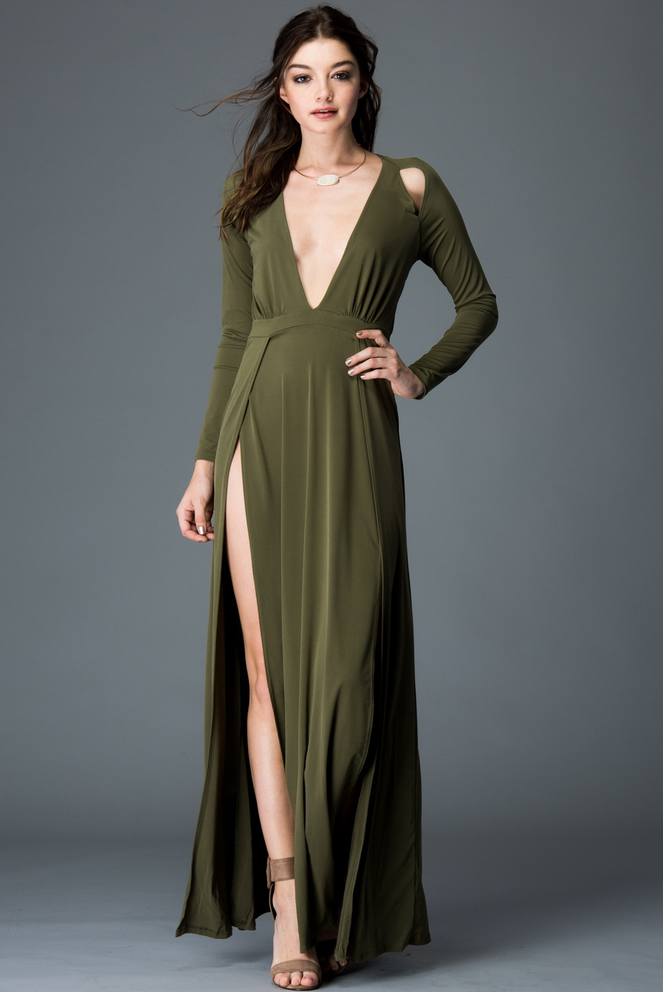MAXI DRESS WITH FRONT SLIT - orangeshine.com