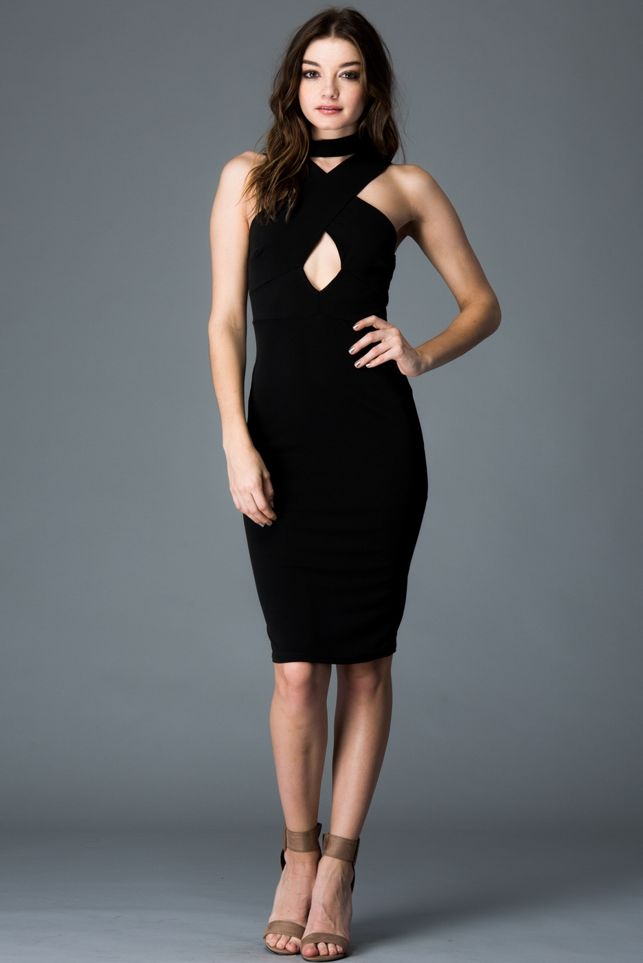 FRONT CHOCKER NECK DRESS - orangeshine.com