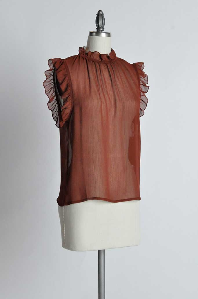RUFFLE NECK SLEEVED TOP - orangeshine.com