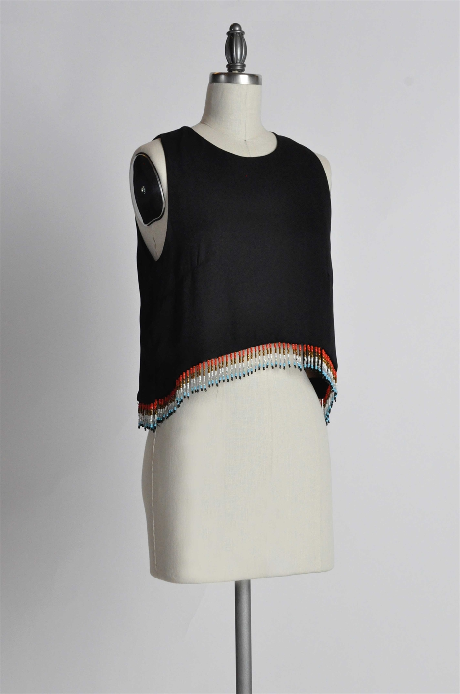 WOVEN TANK WITH BEADED FRINGE - orangeshine.com