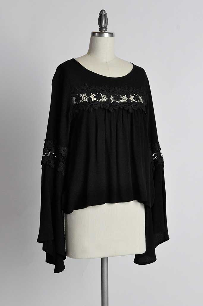 BELL SLEEVE LACE APPLIQUE TOP - orangeshine.com