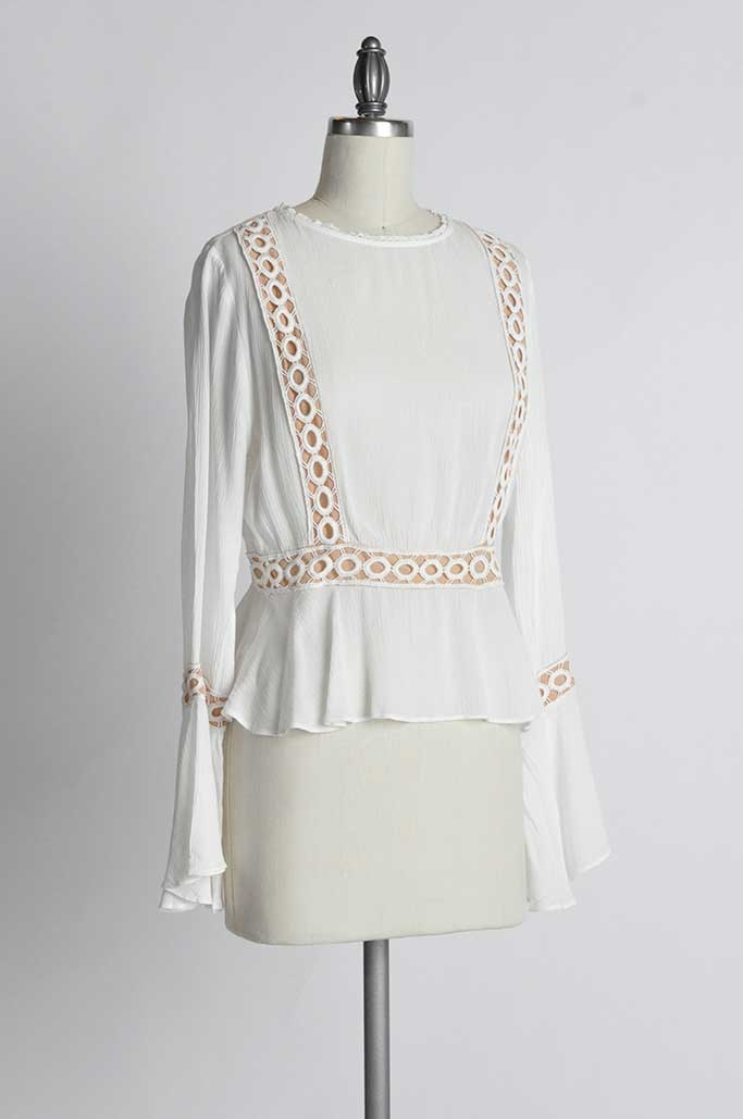 PANELED BELL SLEEVE TOP - orangeshine.com