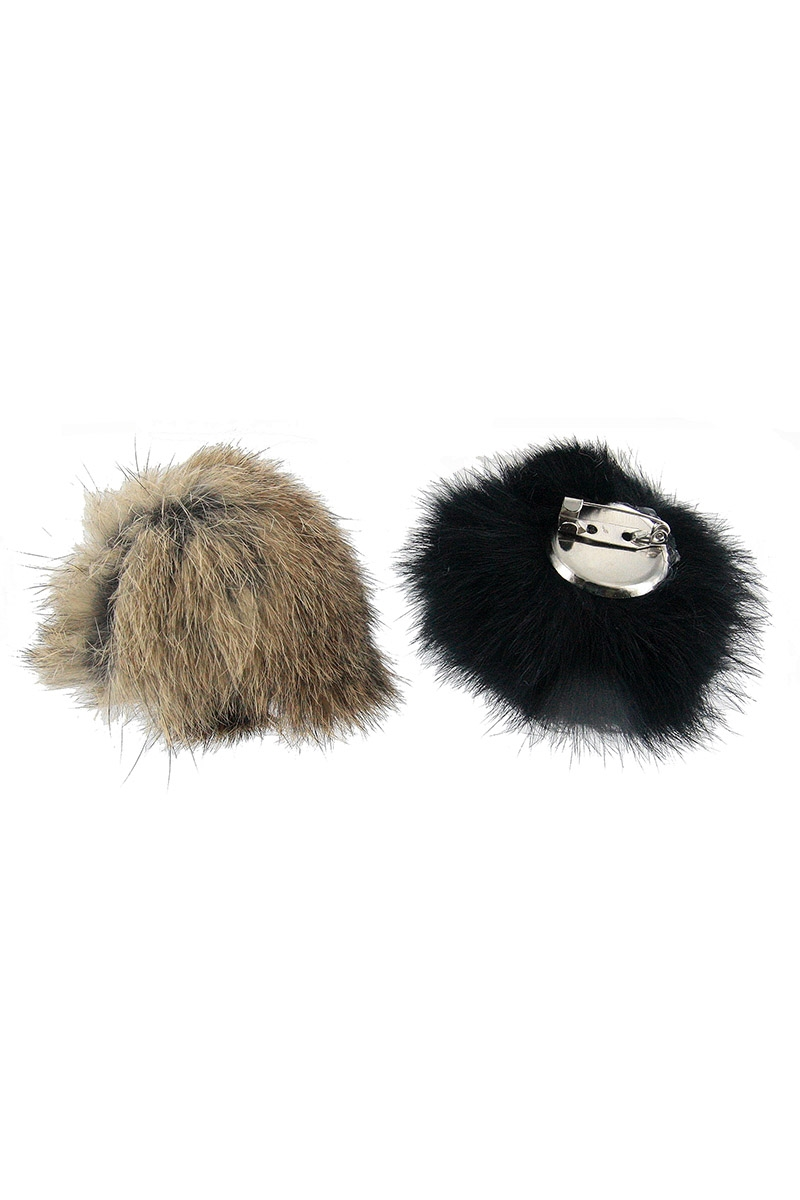 Rabbit Fur Pompom Brooch - orangeshine.com